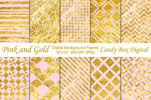 Trendy Pink & Gold Background Papers