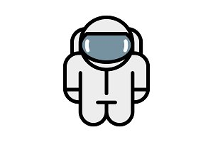Astronaut robot toy. Vector icon