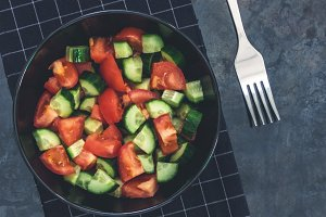 Fresh cucumber tomato salad