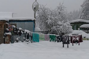 Village in the winter with snow