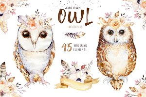 Watercolor cute owls II