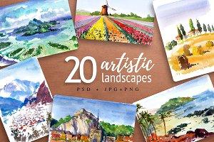 20 artistic landscapes vol2, PSD+PNG