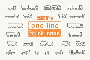 Set of one-line truck icons. Vector.