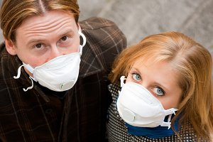 People Wearing Flu Protection Masks