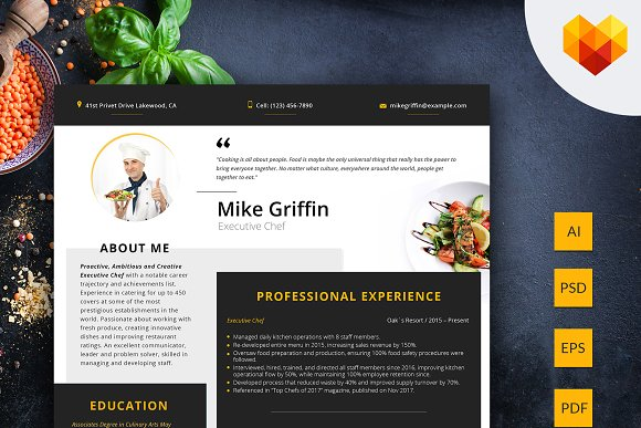 Editable Resume Executive Chef
