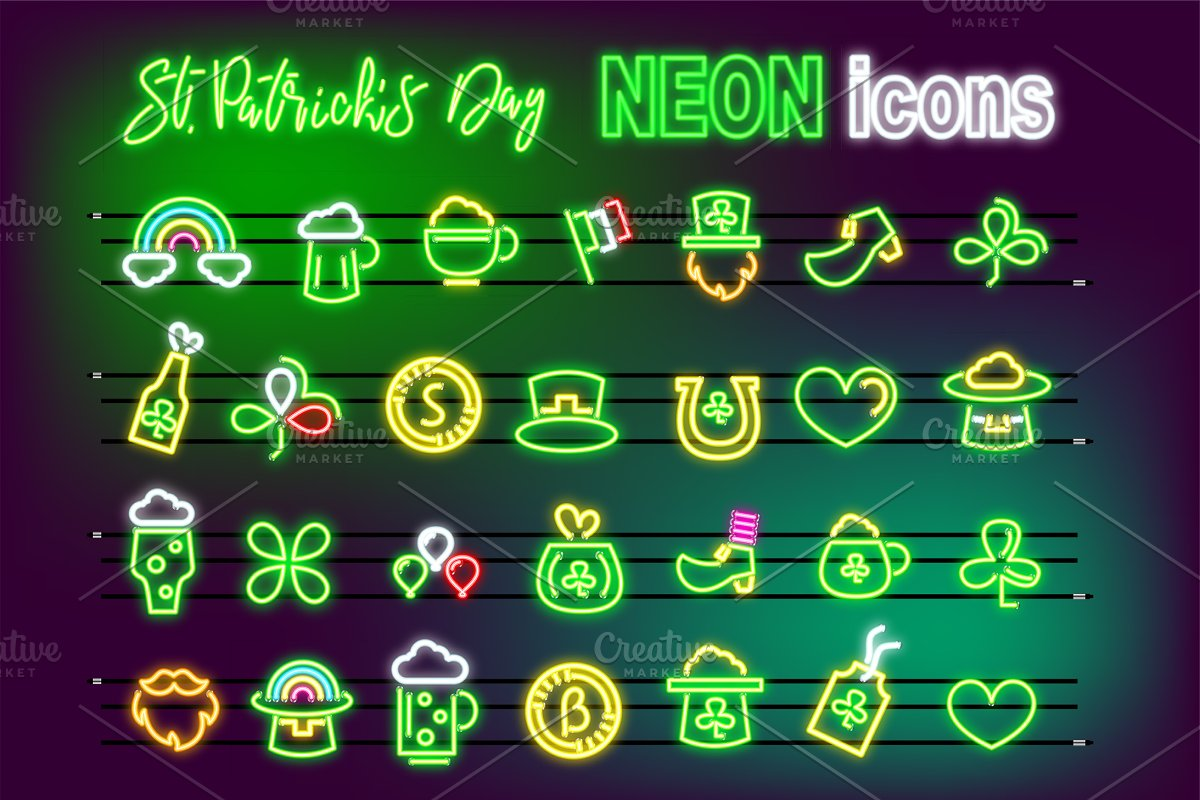 1e2952a6 St Patrick's Day set icon NEON effect ~ Graphic Objects ~ Creative ...