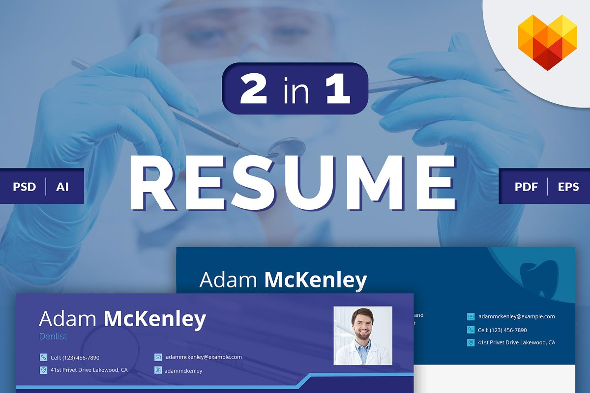 Dentist CV: PSD/AI/EPS/PDF in Resume Templates - product preview 8