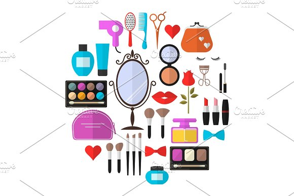 Cosmetic & Makeup Icons Set