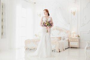 Bride in the royal bedroom.