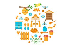 Honey beekeeping vector flat icons set