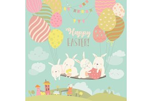 Easter bunnies and easter egg