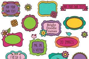 Bright Doodle Frames Clipart/Vectors