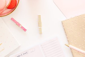 Pink/Gold Styled Desktop Flat Lay