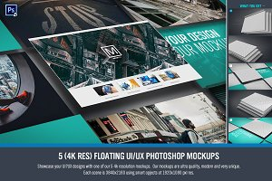 Floating UI/UX Photoshop Mockups (5