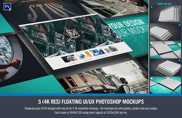 Floating UI UX Photoshop Mockups 5
