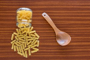 Fusilli jar and wooden spoon