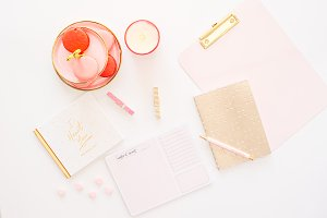 Pink/Gold Styled Desktop Flat Lay 2