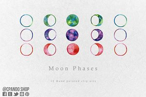 Moon phases watercolor clip art