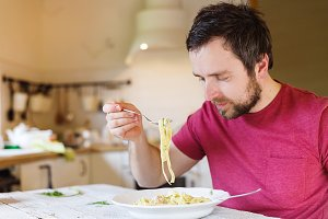 Man with tagliatelle