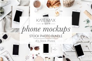 White Smart Phone Stock Photo Bundle