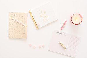 Pink/Gold Styled Desktop Flat Lay 8