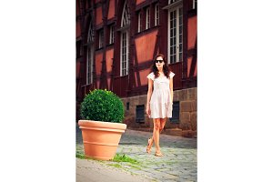 Young Woman Walking Through Esslingen