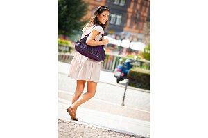 Young Woman Walking Through Esslingen