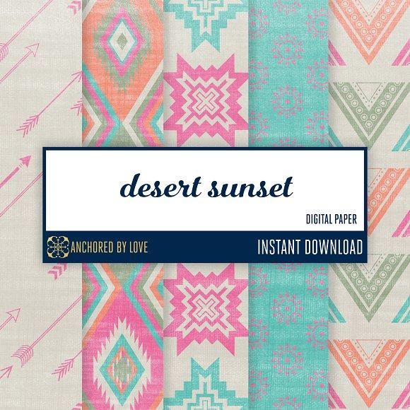Desert Sunset Digital Paper