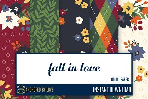 Fall in Love Digital Paper