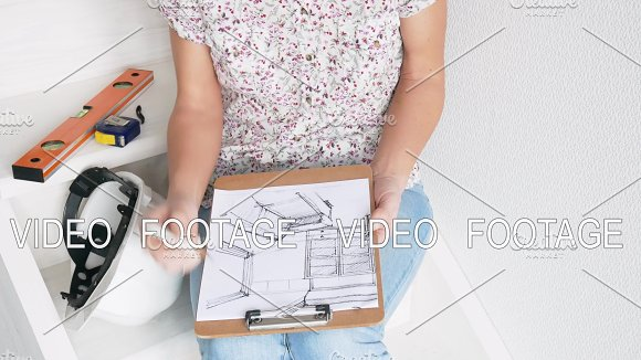 Woman Drawing Interior Design Art Using Pencil On White Paper Freelancers Drawing Schemes And Sits On Stairwell