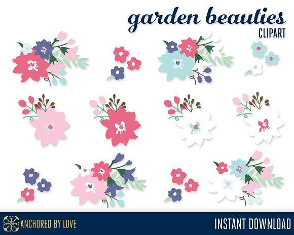 Garden Beauties Floral Clip Art in Illustrations