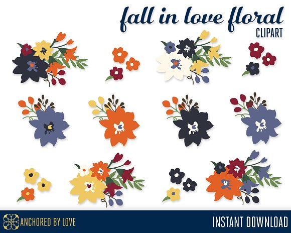 Fall in Love Floral Clip Art