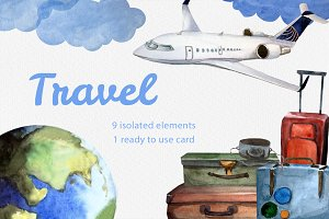 Happy Travels! Watercolor clip art.
