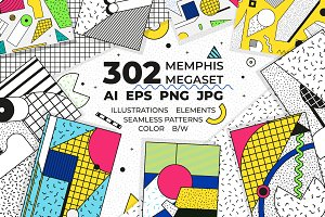 302 illustrations+elements+patterns