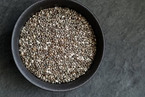 Chia seeds in a black metal bowl