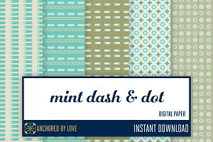 Mint Dash and Dot Digital Paper