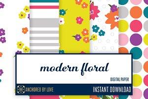 Modern Floral Digital Paper