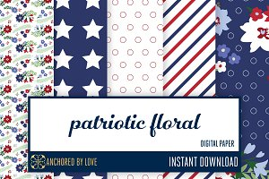 Patriotic Floral Digital Paper