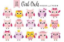 50%Off Girl Owl Clip art Baby Shower
