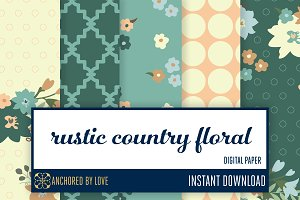 Rustic Country Floral Digital Paper