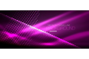 Neon purple smooth wave digital abstract background