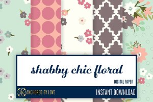 Shabby Chic Floral Digital Paper