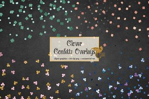Shamrock Confetti Overlay Clipart