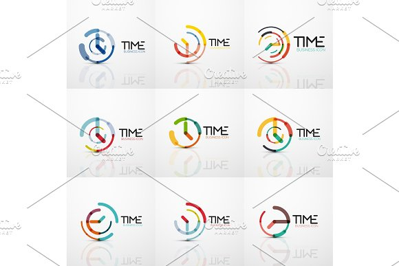 Collection Of Vector Abstract Logo Ideas Time Concepts Or Clock Business Icon Set