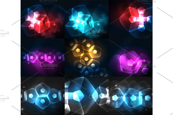 Set Of Abstract Backgrounds Glowing Neon Color Light Effects