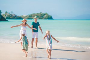 Young family on vacation have a lot of fun together