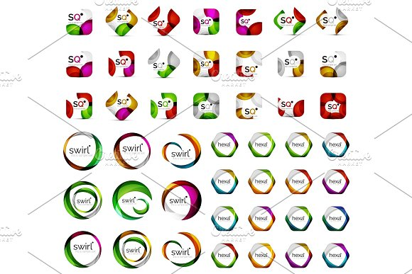 Logo Mega Collection Hexagons Squares Circles Icons