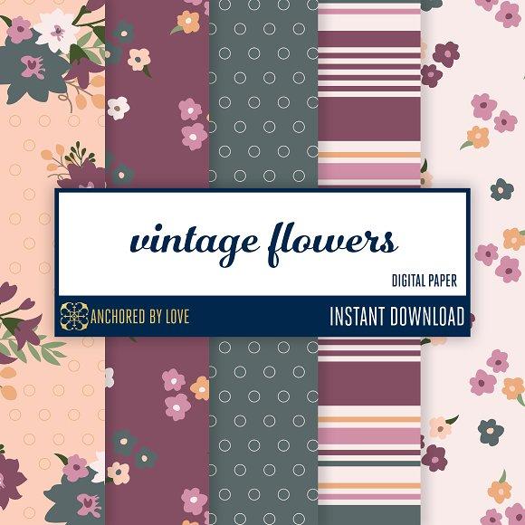 Vintage Flowers Digital Paper