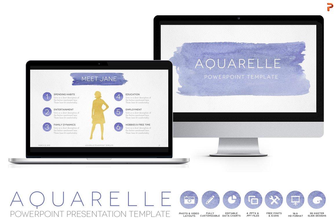 aquarelle powerpoint template presentation templates creative market