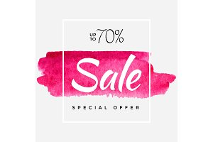 Watercolor Special Offer, Super Sale Flyer, Banner, Poster, Pamphlet, Saving Upto 70% Off, Vector illustration with abstract paint stroke